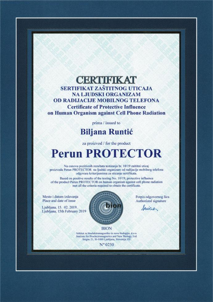 Sertifikat zaštitnog uticaja na ljudski organizam od radijacije mobilnog telefona